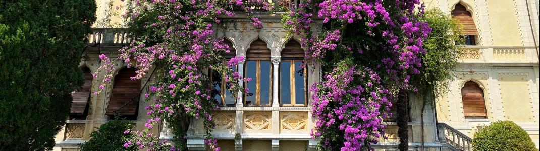 Die venezianische Villa und der üppige farbenprächtige Garten auf der Isola del Garda sind ein absoluter Traum.