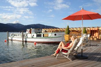 Das Saunaschiff Irmingard ist das Highlight des Monte Mare Tegernsee.