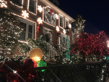 Extravagant Christmas lighting is the main attraction in Dyker Heights.