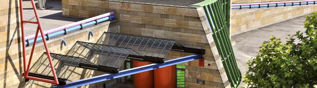 Die Staatsgalerie Stuttgart erkennt man direkt an den bunten Stahlelementen des Stirling-Baus.