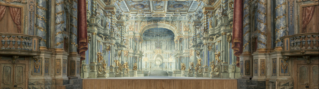 Markgräfliches Opernhaus Bayreuth nach der Restaurierung, Blick zur Bühne mit neu rekonstruiertem Bühnenbild.
