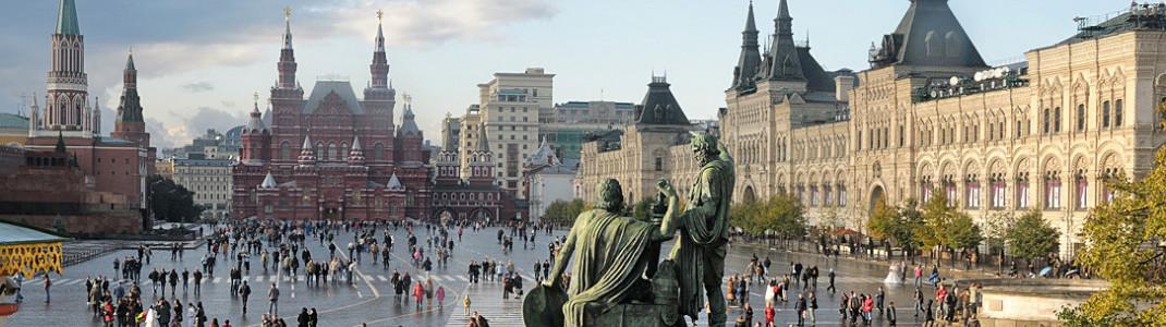 Das Zentrum der Macht: Der Rote Platz in Moskau ist einer der bedeutendsten Plätze der Welt und seit 1990 auch Unesco-Welterbe. Hier sitzt auch die Regierung im Kreml.