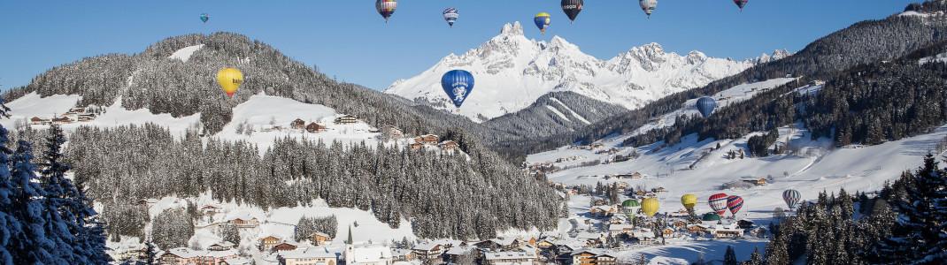 Filzmoos zählt zu den schönsten Startpunkten für Ballonfahrten über die Alpen.