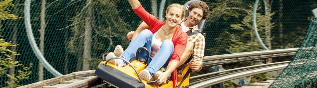 Mit dem Alpsee Coaster in Immenstadt erreichst du Geschwindigkeiten bis zu 40 km/h.