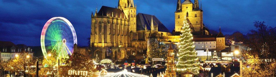 Der Erfurter Weihnachtsmarkt am Abend