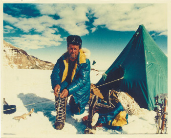 Climbing K2 with handmade fur boots from Dolomite.