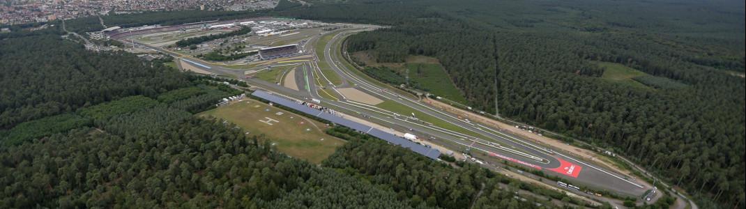The motor racing circuit Hockenheimring is situated in the Rhine Valley near Hockenheim, Baden-Wuerttemberg.