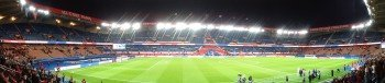 Die Innen-Panoramaansicht des Parc des Princes (Prinzenparkstadion) im Herzen von Paris