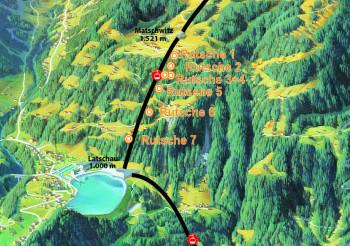 Die 7 Rutschen werden zwischen Matschwitz und Latschau aufgebaut und ermöglichen eine Gesamt-Rutschstrecke von 350 Metern.