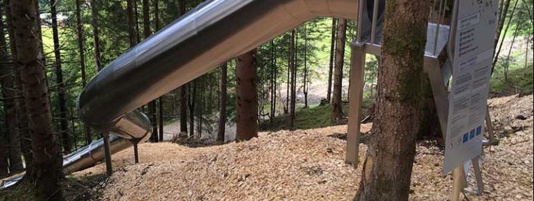 Insgesamt 7 Rutschen werden am Golm im Waldboden verankert. 'Nur' 5 waren es am Hochkönig, wo im vergangenen Jahr eine ähnliche Anlage eröffnet wurde (im Bild).