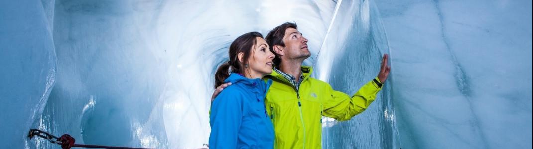 Die Gletscherspalten am Kaunertaler Gletscher sind nur 1,5 Meter breit