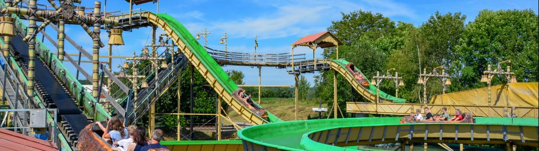 Die neue Wildwasserbahn Pirateninsel im Eifelpark in Gondorf.