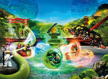 Lloyd's Spinjitzu Spinner im Legoland lassen sich komplett überschlagen.