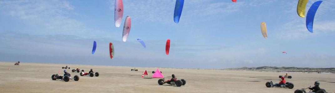 Am Nordstrand kann man mit dem Kite-Buggy über den breiten Sandstrand surfen.