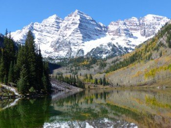 The Maroon Bells are more than 14,000 feet high