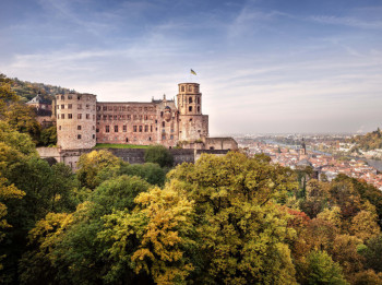 """Poets immortalized Heidelberg Castle in their writings as the """"epitome of a romantic ruin above the Neckar""""."""