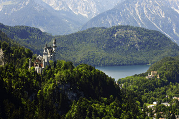 Neuschwanstein and Hohenschwangau Castles by Füssen in the Allgäu, in the background the Alpsee lake.