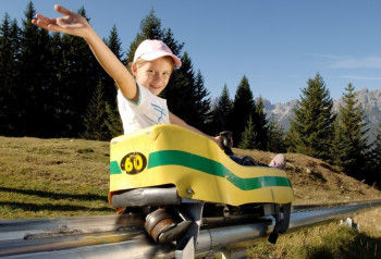 Mieders' Summer Toboggan Run at Serlesbahnen in the Stubai Valley, Tyrol is the world's steepest alpine coaster.