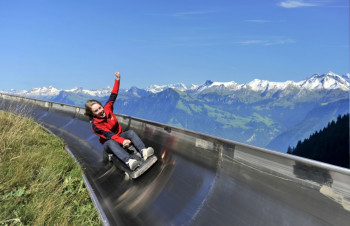 Fräkigaudi is Switzerland's longest summer toboggan run, offering breathtaking views and an unforgettable experience.