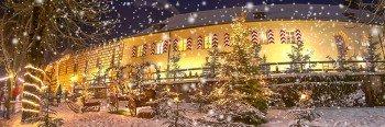 Ein wahres Lichtermeer erwartet Besucher auf dem Weihnachtsmarkt auf Schloss Guteneck.