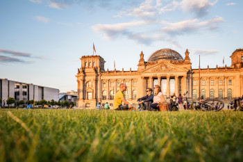 The centre of German politics: Berlin's Reichstag with its modern glass dome.