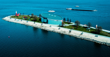 The museum is built on a peninsula in the Danube river.