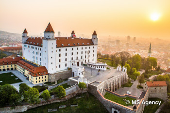 Towering above the city, Bratislava Castle is one of the city's oldest landmarks.