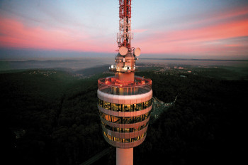 Sipping cocktails with a panoramic view - possible at Stuttgart TV Tower.