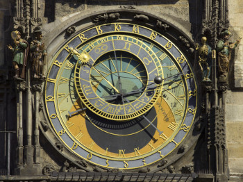 The famous Astronomical Clock on the tower of Prague's town hall.