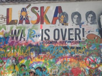 """John Lennon Wall: """"Láska"""" is the Czech word for love."""