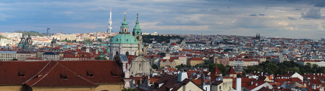 Over Prague's rooftops.