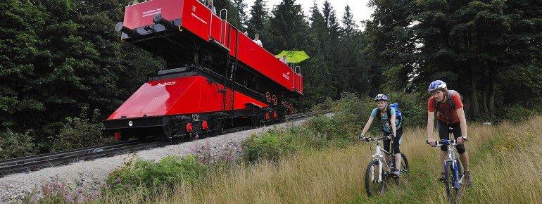 Bike alongside Oberweißbach mountain railway.