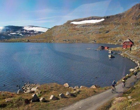 Radfahrer auf dem Rallarvegen