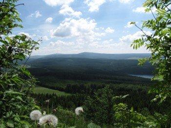 Blick vom Bärenstein zum Fichtelberg