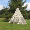 Curiosity at the trail: the replica of the Pyramid of Cheops.