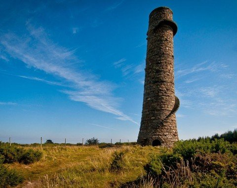 The ruin of old Ballycorus Lead Mines' chimney.