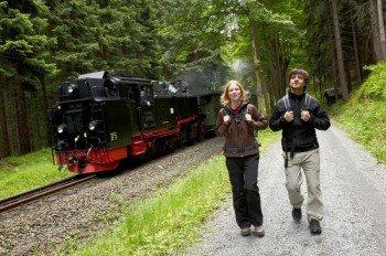 Hiking next to Fichtelbergbahn