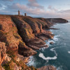 The coast at the promontory impresses with 70 meter high cliffs