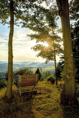 Rothaarsteig offers numerous viewing points. The hike features views of the Sauerland, Wittgensteiner Bergland and Siegerland regions.
