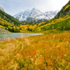 Fall color surrounds the Maroon Bells