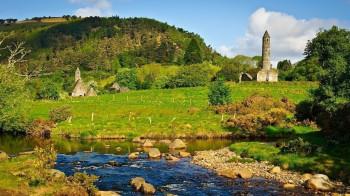 The idyllic Glendalough Valley with its historic monastic sites