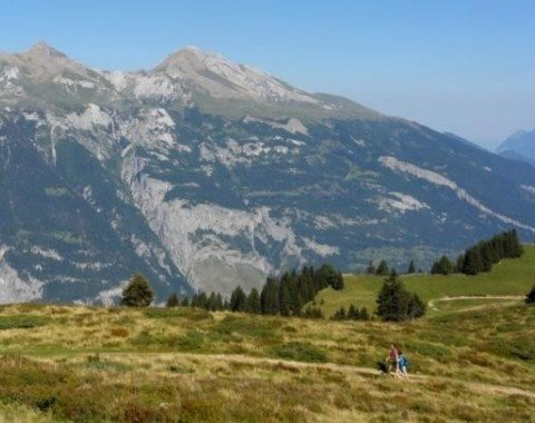 Aufstieg zum Dreibündenstein mit Blick auf den Calanda (rechts)