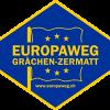Das Logo des Europaweges zwischen Grächen und Zermatt