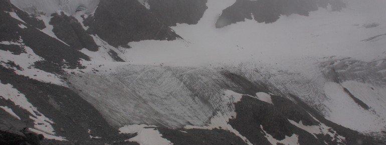 Der Blick kurz nach der Braunschweiger Hütte auf den Pitztaler Gletscher