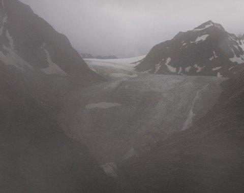 Der Blick von der Braunschweiger Hütte auf den Pitztaler Gletscher