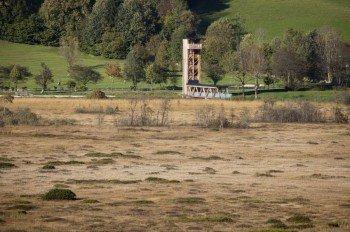 Der 16 Meter hohe Aussichtsturm im Moorgebiet Schwemm ist das Ziel der Tour