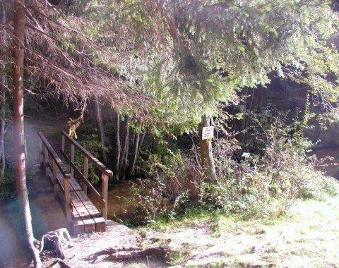 Die kleine Holzbrücke am Zellersteig wird überquert