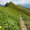 Entlang des Berggrates gehst du von einem Gipfel zum nächsten.