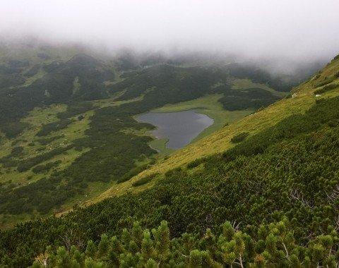 Wir erreichen den Grat und es zeigt sich die Goldbach und der Goldbachsee