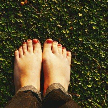 Auf dem Barfußweg heißt es: Schuhe ausziehen und die Natur erleben!
